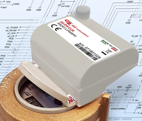 Modulo radio LoRaWAN per rete fissa e LoRa per walk-by / drive-by modello G2-IPS-CLW esecuzione compatta.
