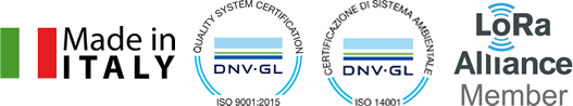 Made in Italy - ISO 9001:2015 - ISO 14001 - LoRa Alliance Member