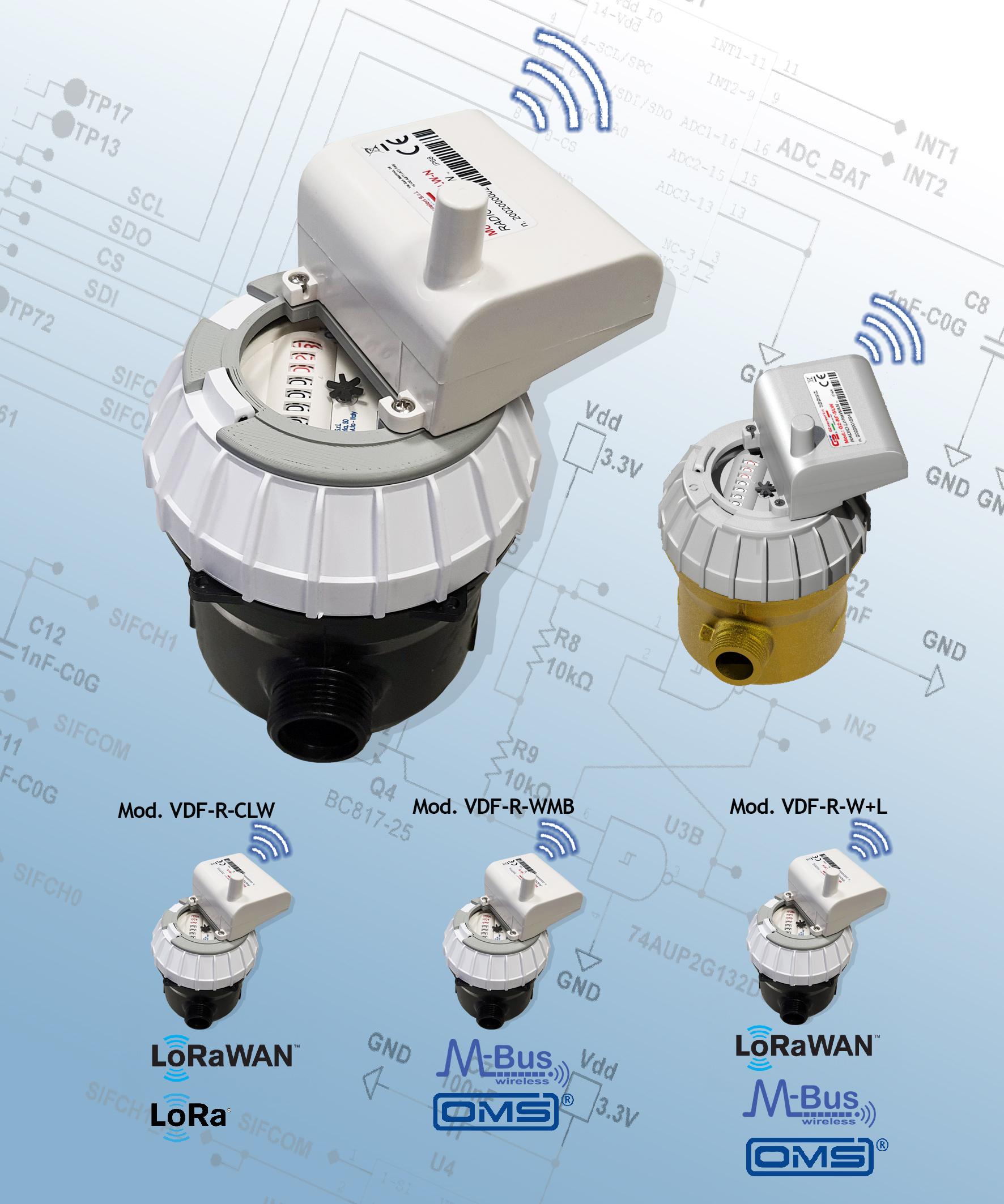 Contatori acqua: smart meter modello VSF-R-CLW con protocollo LoRaWAN per rete fissa e LoRa per Walk-by/Drive-By e modello VDF-R-WMB freq. 868 Mhz con protocollo W-Mbus per Walk-by/Drive-By.